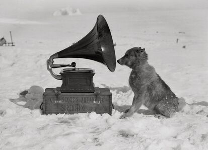 Herbert George Ponting, 'Chris and the Gramophone', 1911