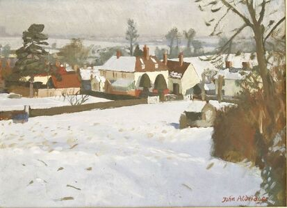 John Aldridge, 'GREAT BARDFIELD, FEB.1963 - VIEW OF A HOUSE UNDER SNOW'