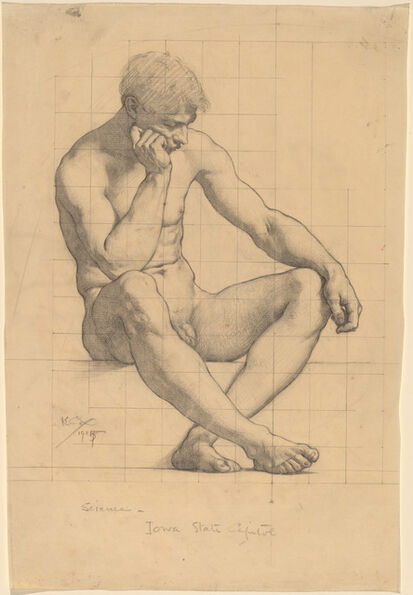"Kenyon Cox, 'Seated Male Nude: Study for ""Science"" - Iowa State Capitol', 1905"