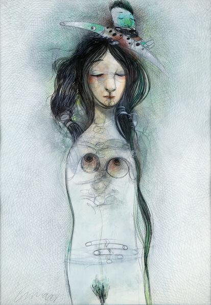 Pedro Pablo Oliva, 'Estudio para una muchacha con camaleon ', 2001