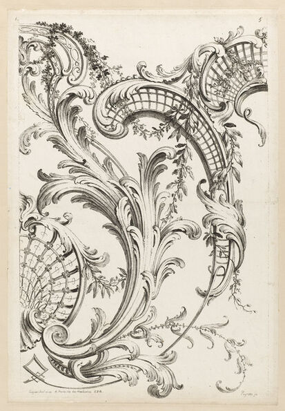 Alexis Peyrotte, 'Shell Cartouches and Acanthus Leaf Motif', 1740