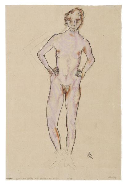 Oskar Kokoschka, 'Standing Female Nude, Hands on Hips', 1912