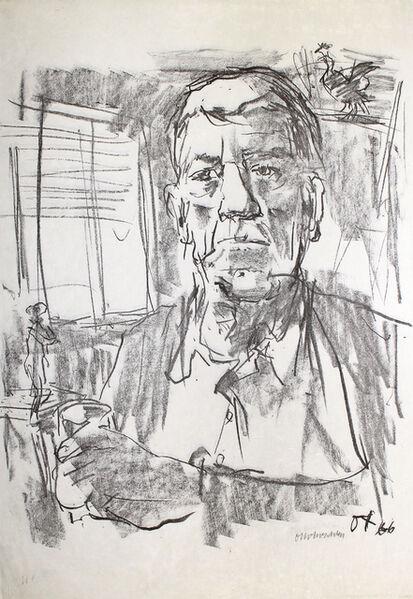 Oskar Kokoschka, 'Selbstbildnis mit Statuette', 1966