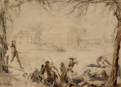 "Everett Shinn, ' Attributed to; Design for the Battle of Lexington Scene in 1924 Film ""Jani', 20th Century"
