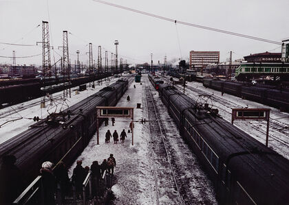 Keizo Kitajima, '14/3/1991 Novosibirsk, Russian SFSR. Trains rest at Novosibirsk station in western Siberia. When the railway in Siberia was constructed, Novosibirsk was then at the intersection of two great transportation routes- the rivers and railways. The city......', 1991-printed 2001
