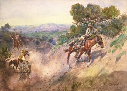 Charles Marion Russell, 'Git 'Em Out of There', 1915