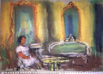 Jacques Zucker, 'Pastel Painting Woman in Interior Polish Ecole D'Paris, WPA, Bezalel Artist', 20th Century