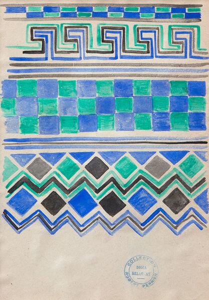 Sonia Delaunay, 'Green, Black and Blue Border Design', ca. 20's-30's