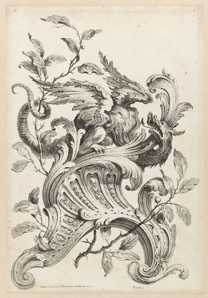 Alexis Peyrotte, 'Winged Griffon on a Rocaille Bracket, from Premiere Partie Diverse Ornements', 1745
