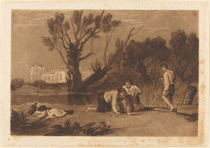 Joseph Mallord William Turner and Robert Dunkarton, 'Young Anglers', published 1811