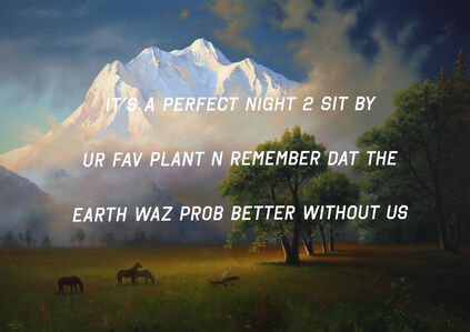 Shawn Huckins, 'A Mountain Landscape: It's a Perfect Night to Sit By Your Favorite Plant and Remember that the Earth was probably better without Us', 2019
