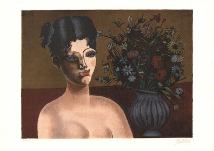 Franco Gentilini, 'Ragazza con vaso di fiori', 1980