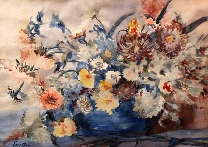 Jacob Epstein, 'British Modernist Vibrant Watercolor Painting of Flowers', 1930-1939