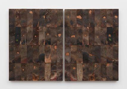Gabriel de la Mora, '72 - I / Pi (36 pairs of leather shoe soles on wood', 2016