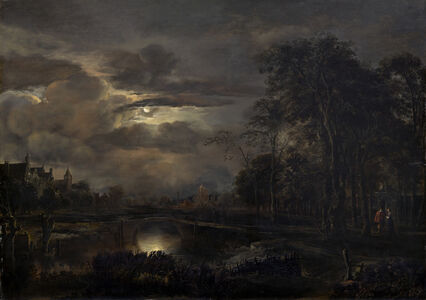 Aert van der Neer, 'Moonlit Landscape with Bridge', probably 1648/1650