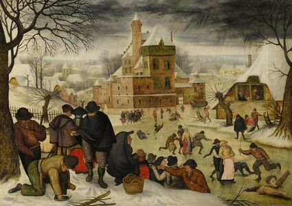 Pieter Bruegel the Younger, 'Winter landscape with skaters', 17th century