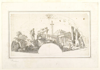 Giovanni Paolo Panini, 'Design for a Fan: Capriccio with Roman Ruins and the Farnese Hercules', ca. 1750