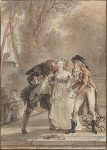 Jacques Louis François Touzé, 'Loaned Kiss', in or before 1795