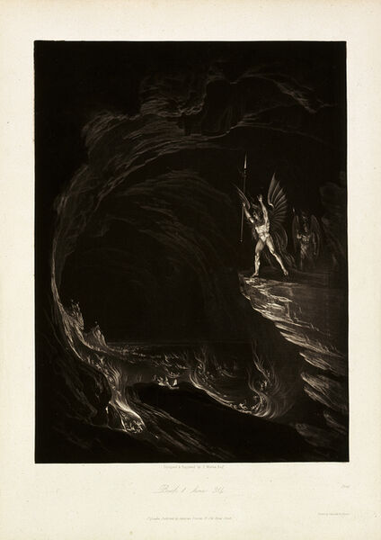 John Martin (1789-1854), 'Satan Arousing the Fallen Angels, Book 1, line 314, from John Milton, Paradise Lost', 1824