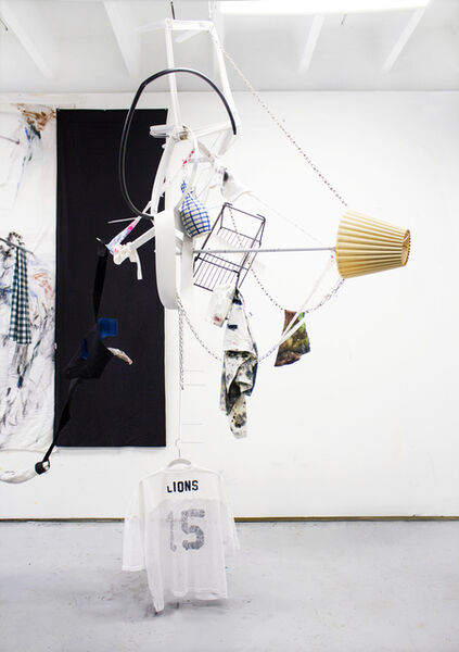 Clara Varas, 'Untitled (Lions) Chandelier Module #1, Metal, vase, fabric, oil on t-shirts, dimensions variable ', 2019