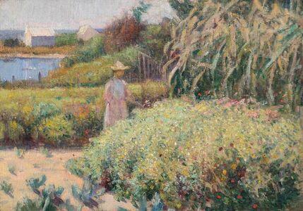 Theodore Wendel, 'Woman in Flower Garden, Cape Ann', 19th -20th Century