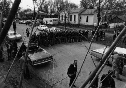 Charles Moore, 'State police wait for the marchers', 1965