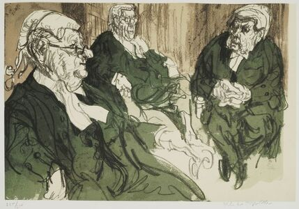Feliks Topolski, 'Three Court of Appeal Judges', c.1980