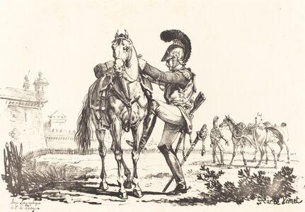 Carle Vernet, 'Carabinier Mounting a Horse'
