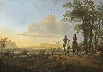 Aelbert Cuyp, 'Horsemen and Herdsmen with Cattle', 1655/1660
