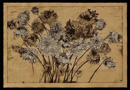 Helen Gotlib, 'Fall Dahlias II (on tan paper)'