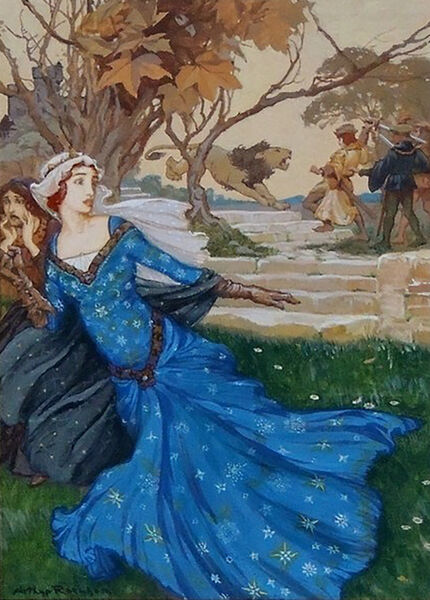 Arthur Rackham, 'Guinevere Rescued by La Cote Male Taile'