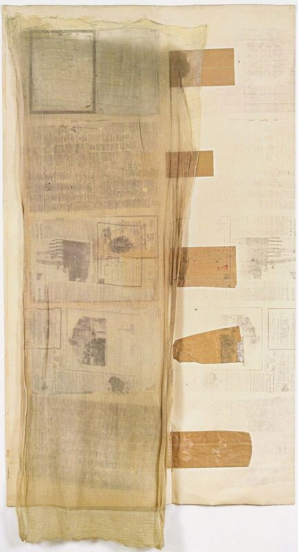Robert Rauschenberg, 'Untitled', 1974, Solvent transfer on fabric and paper bag collage, and paint on linen-backed paper, Robert Rauschenberg Foundation