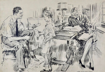 James Montgomery Flagg, 'Man Showing Young Boy a Toy Boat', 20th Century