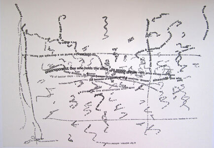 Willem Boshoff, 'Oneiropomist (Definition: One who holds the office of sending dreams to people. At the right price one may order pleasant or lucky dreams. In Greek pompe is 'sending' and oneiros 'dream'.)', 2010