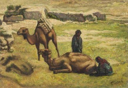 Shlomo Itzkovitch, 'Pastoral Landscape Palestine/Israel Camels and Shepherds', 20th Century