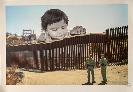 JR, 'Giants, Kikito and the Boarder Patrol, Tecate, Mexico - U.S.A', 2017