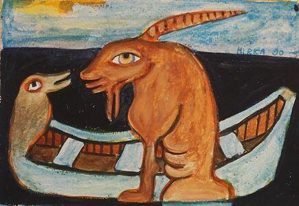 Mirka Mora, 'Goat In A Boat', 1990
