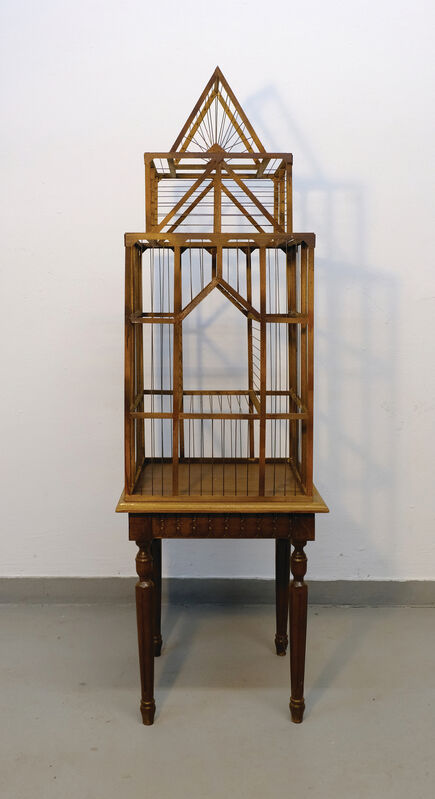 Artemis Potamianou, 'Which side are you on? Emptiness', 2018, Sculpture, Wood and metal birdcage, IFAC Arts