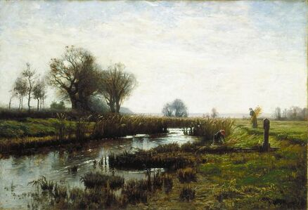 """Theodore Clement """"T.C."""" Steele, 'Late Afternoon, Dachau Moor', 1885-1885"""