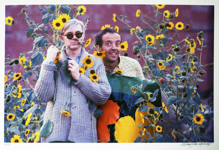 William John Kennedy, 'Andy Warhol and Taylor Mead with Flowers', 1964