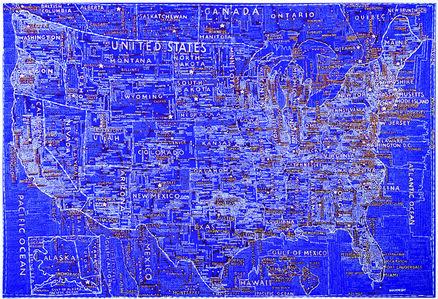 Paula Scher, 'The United States (Blue)', 2007