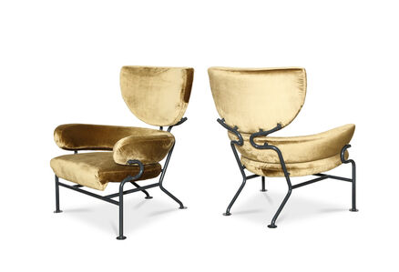 """Franco Albini, '""""Tre Pezzi,"""" Pair of Early Lounge Chairs'"""