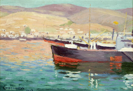 Earl Henry Brewster, 'Boat with Greenish Waterand Mountains'