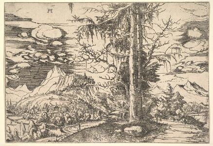 Albrecht Altdorfer, 'Landscape with a Double Spruce in the Foreground', ca. 1521–1522