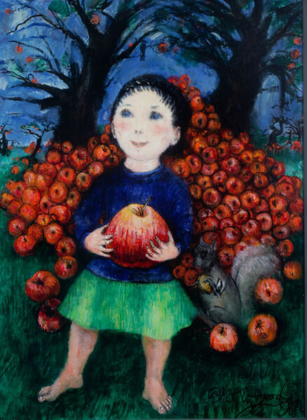 Philip Evergood, 'Girl with Apples', 1950