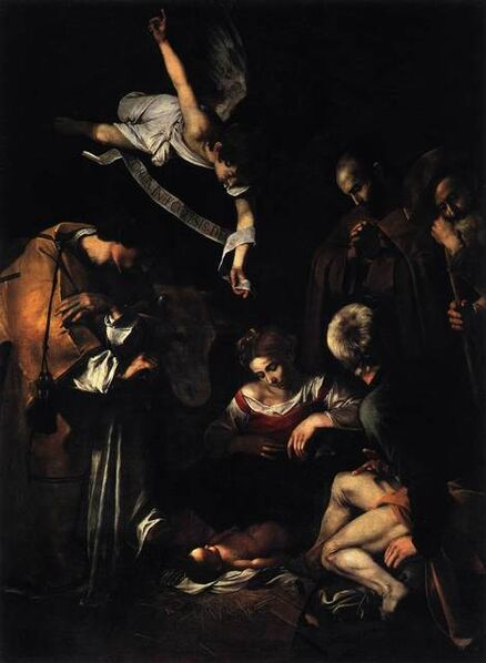Michelangelo Merisi da Caravaggio, 'Nativity with St. Francis and St. Lawrence', 1609