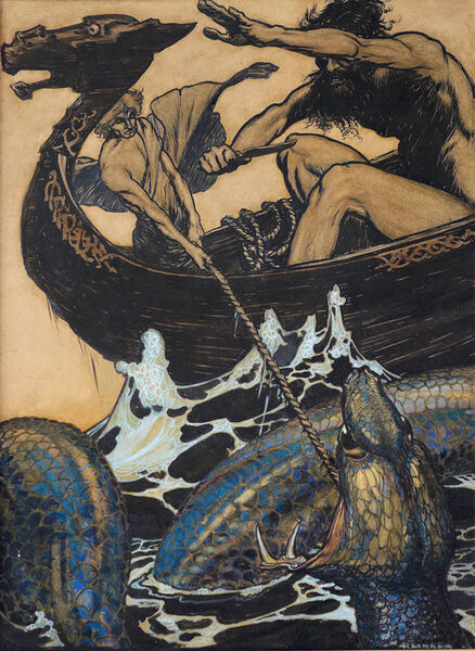 Arthur Rackham, 'Sea Battle - (Stories from the Edda), ', 1905-1915