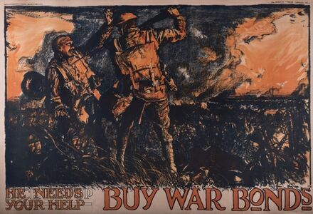 Sir Frank Brangwyn, 'War Bonds 2 (Back Him Up, Buy War Bonds) W1930, circa 1918', ca. 1918
