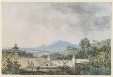 Louis Gabriel Moreau (Louis-Gabriel Moreau, called Moreau l'Ainé), 'Panoramic View across a Terraced Park', 1780/1790