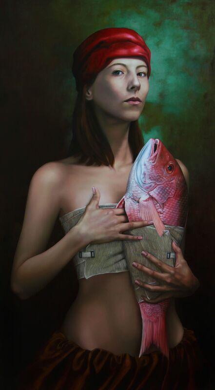 Enrique García Saucedo, 'La tentación y el pez', 2012, Painting, Oil on canvas, Galerie AM PARK